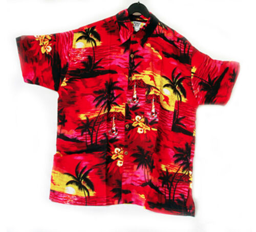 """new 62/"""" stag night LOUD Hawaiian shirt RED with palms// yellow sunsets 5XL"""