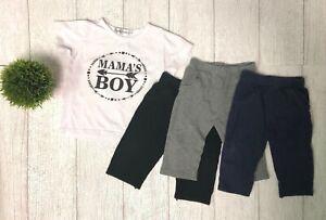 Baby-Boy-Luvable-Friends-schwarz-graue-Hosen-Mamas-Boy-Shirt-Menge-3-18-Monate