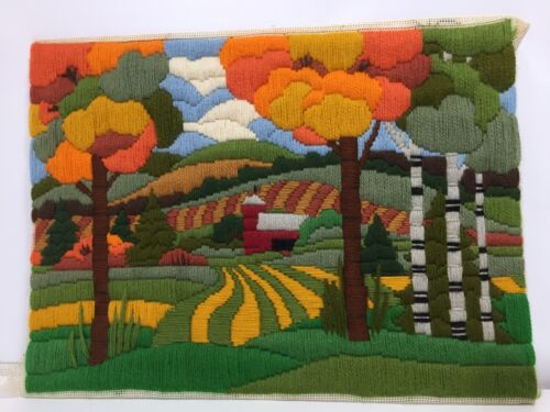 Vintage 70s Crewel Embroidery Landscape Harvest Color Barn Fields Tree Art 16x12