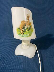 Lampada Di Comodino Tavola Vintage IN Plastica Decorazione Camoscio 60 70 Kitch