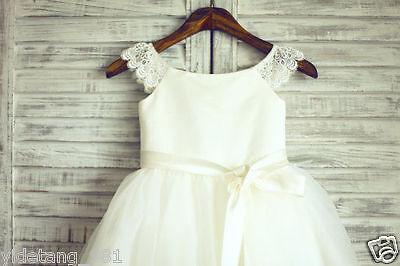 Ivory Lace Tulle Flower Girl Dress Wedding Children Easter Bridesmaid Communion!