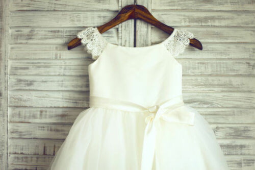 Ivory Lace Tulle Flower Girl Dress Wedding Children Easter Bridesmaid Communion!