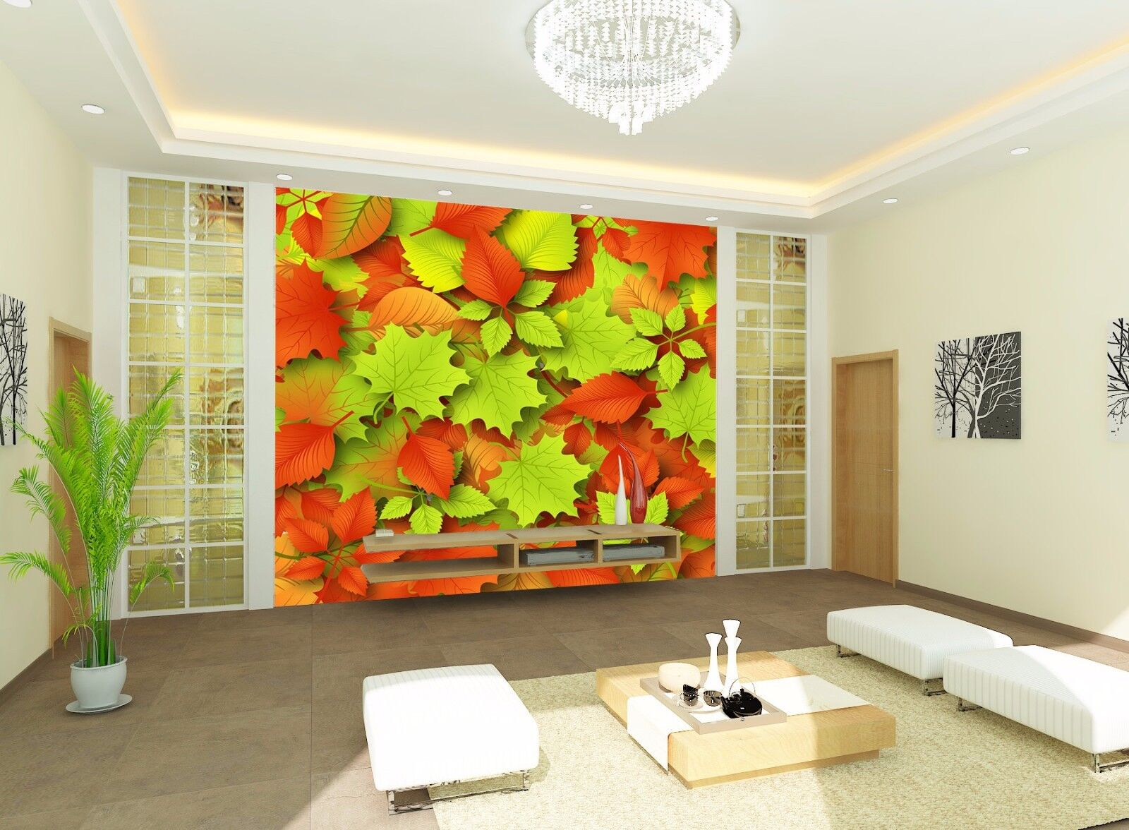 3D Maple Leaves 55 Wallpaper Murals Wall Print Wallpaper Mural AJ WALLPAPER UK