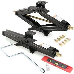 2-Set-5000-lb-24-034-RV-Trailer-Stabilizer-Leveling-Scissor-Jacks-w-Handle-amp-More