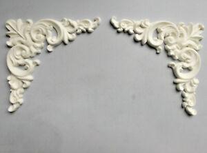 Decorative Furniture Mouldings ~ Ornate Corners White in Colour ~
