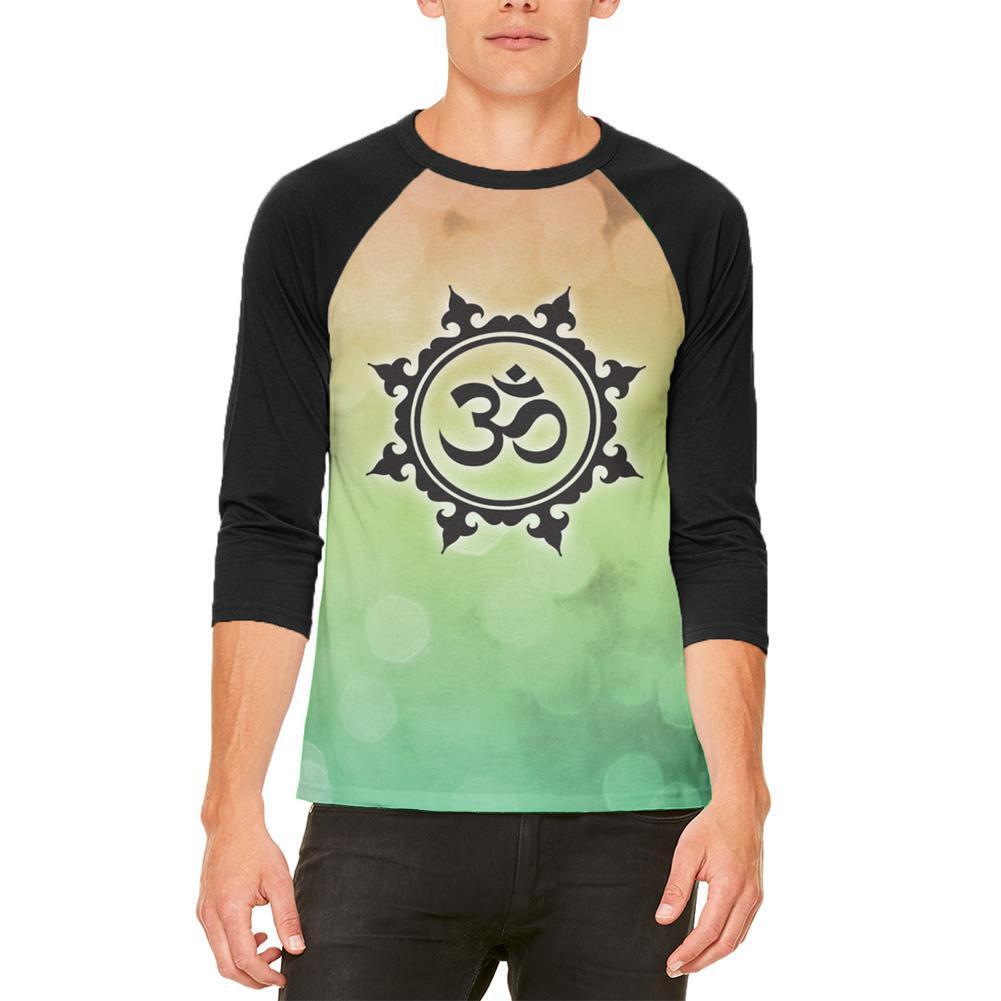 Om Yoga Inner Peace Mens Raglan T Shirt