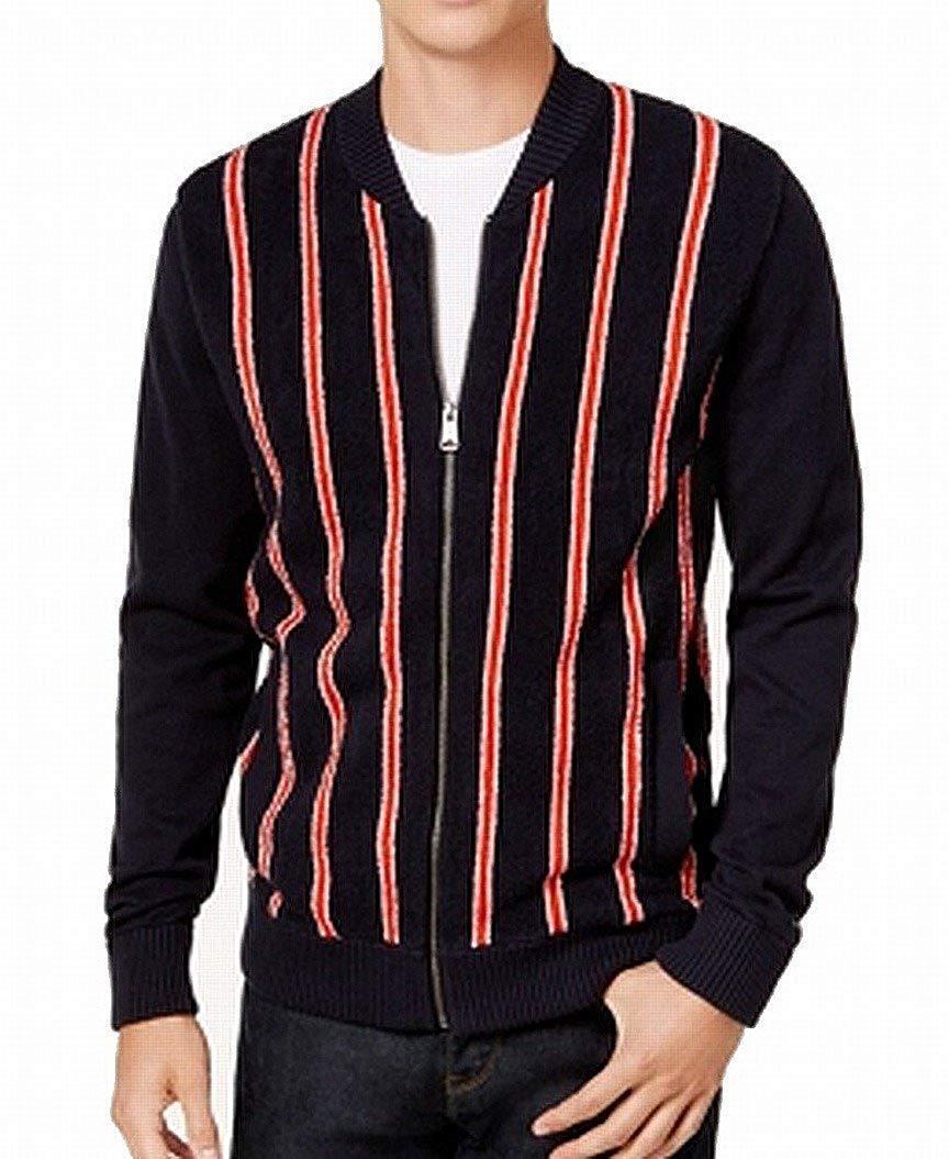 Tommy Hilfiger ROT  Herren Full Zip Stripe Sweater Blau L, 3240-5