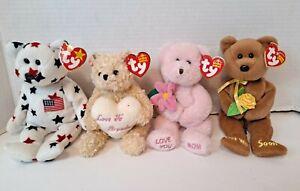 Beanie Baby Bear Lot of 4 W/Tags 1998-2005 Glory, Dear Heart, Love U Mom, Bandge