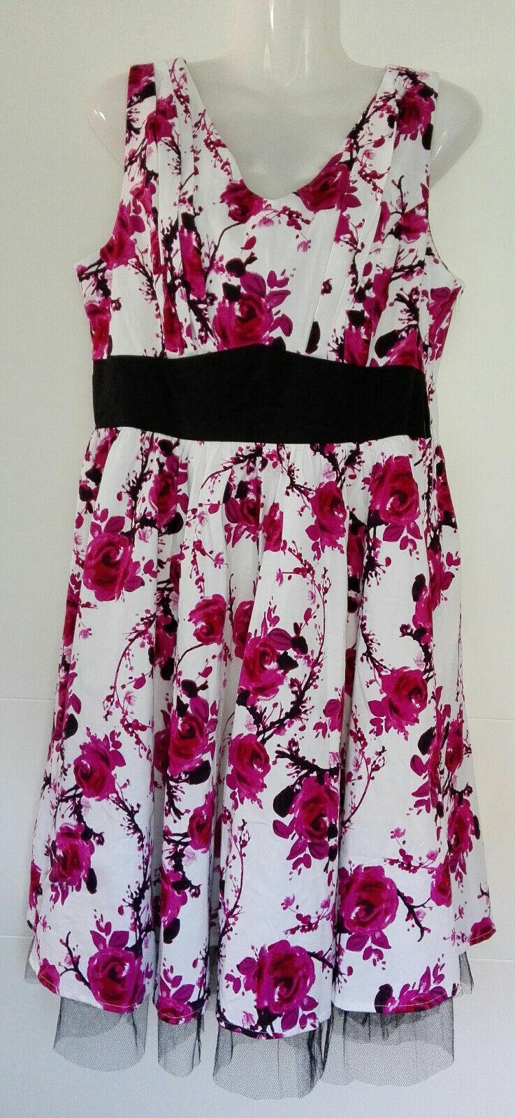 Damen Hearts & Rosas Kleid Rockabilly Swing Tüll Retro geblümt Rosa weiß Gr. 42