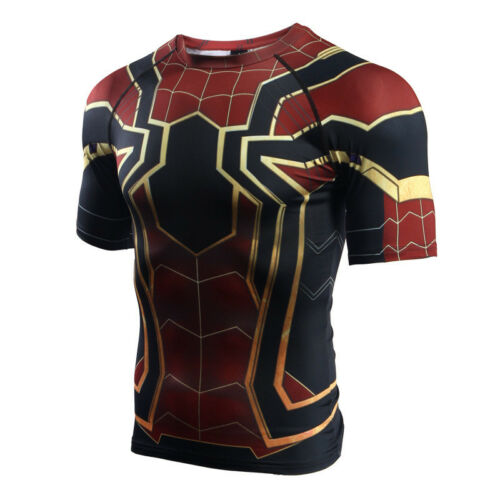 Spider-Man Homecoming Short Sleeve Iron Spiderman Fitness Compression T-Shirt 33