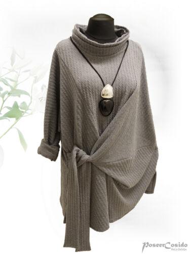 PoCo DeSiGn LAGENLOOK Strick Knoten Pullover Long-Shirt L-XL-XXL-XXXL grau