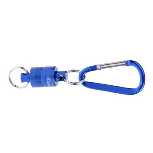 2pcs Magnetic Fly Fishing Kescher Release Keeper w Clip Karabiner Blau