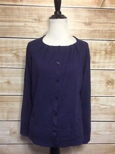 Ann-Taylor-Loft-Blue-Pleated-Long-Sleeve-Button-Down-Cardigan-Sweater-Size-Small