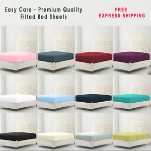 Full-Fitted-Sheet-Bed-Sheets-100-Poly-Cotton-Single-Double-King-Super-King-Size