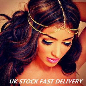 Women Fashion Metal Rhinestone Head Chain Jewelry Headband HeadPiece HairBand UK