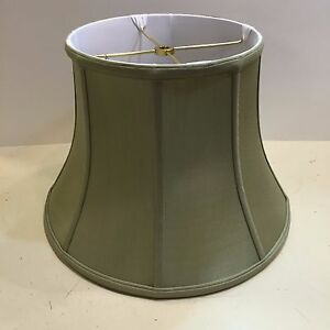 Image Is Loading 12 034 Celedon Green Silk Lampshade Modified Bell