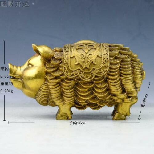 Chinese antique handmade brass statue fengshui lucky Chinese Zodiac pig coin