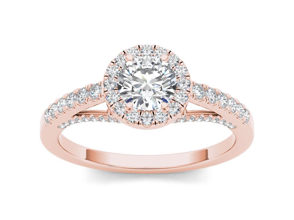14K pink gold 0.75 Ct Natural Diamond Halo Engagement Ring