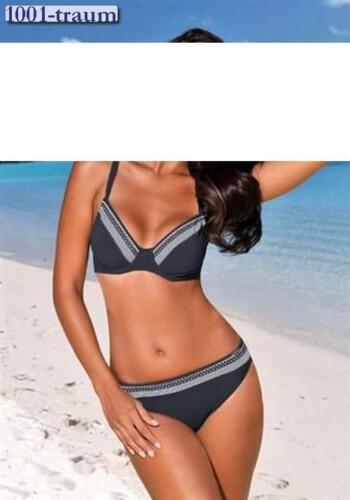 Bikini SUNFLAIR schwarz-weiß-grau Gr 36 Cup D NEU