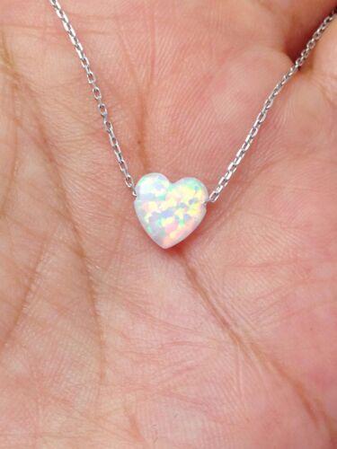 Opale blanc Coeur Collier Pendentif Argent Sterling Or Jaune Plaqué Or Rose