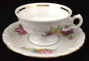 Royal-Kent-Poland-Porcelain-1-Demitasse-Cup-amp-Saucer-Floral-Enchantment-Roses