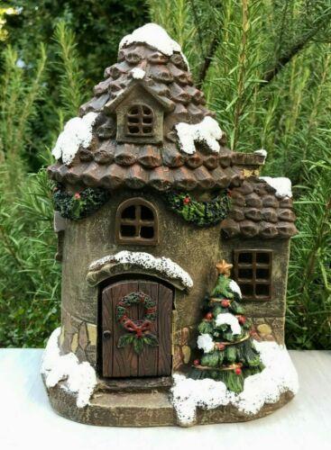 "Miniature FAIRY GARDEN ~ CHRISTMAS Glitter Snow 10/"" Pine Cone House w LED Light"