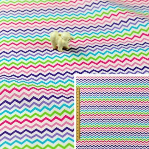 Graisse multicolore trimestretissu de coton FQRainbow Chevron géométrique Coudre Quilt