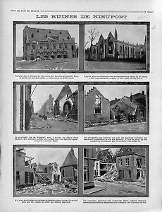 Ruines-Eglise-Halles-Stadshalle-Nieuport-Nieuwpoort-Bataille-Flandre-1914-WWI