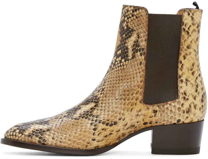 Uomo Snake Skin Pattern Chelsea Ankle Boots Leather Pointy Toe Dress Shoes Formal
