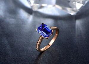 Solid-14K-ROSE-GOLD-NATURAL-STUNNING-BLUE-TANZANITE-DIAMOND-WEDDING-GIFT-RING