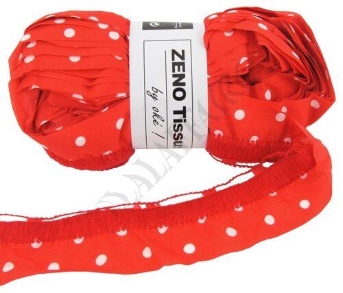 Rouge Pois Blanc Laine ruban Froufrou OKE Zeno Tissus 100g