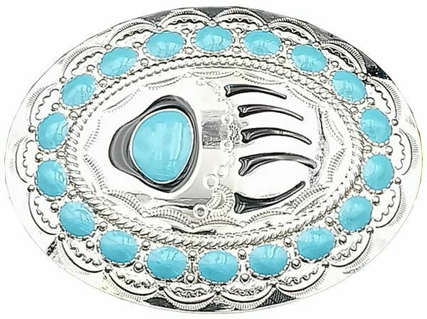 Bear Claw Native American Western Style Belt Buckle Silver Turquoise accents 012