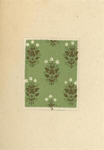 ACEO-MEDIEVAL-WALLPAPERS-FLOWERS-GREEN-PRINT-SCRAPBOOKING-ON-ANTIQUE-1803-PAPER
