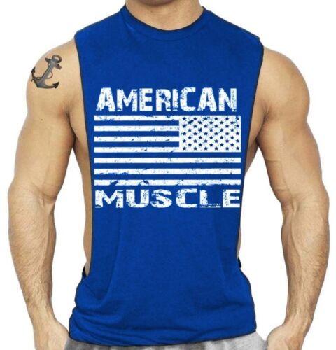 Men/'s gym fitness bodybuilding muscular vest United States cotton Vest Sports