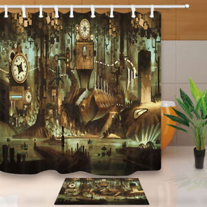 Image Is Loading Science Fiction Machinery Clock Steampunk Bathroom Fabric Shower