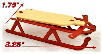 TINY RED WOOD /& METAL SLED Miniature Dollhouse or FAIRY GARDEN Holiday Decor NEW