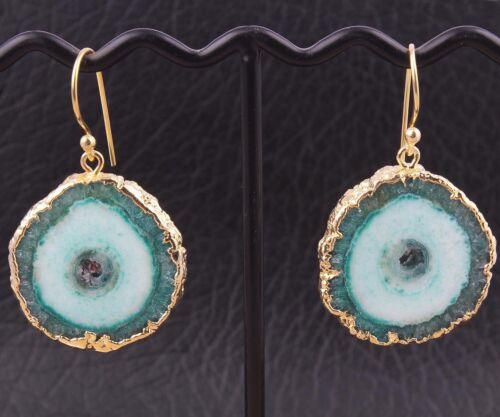 Green Natural solaire quartz gesmtone Plaqué Or Fantaisie Style Goutte Dangle Boucles d/'oreilles