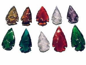 10 Pointes De Flèche Pointes Fleche Punta Freccia Flecha Multicolore Verre-afficher Le Titre D'origine