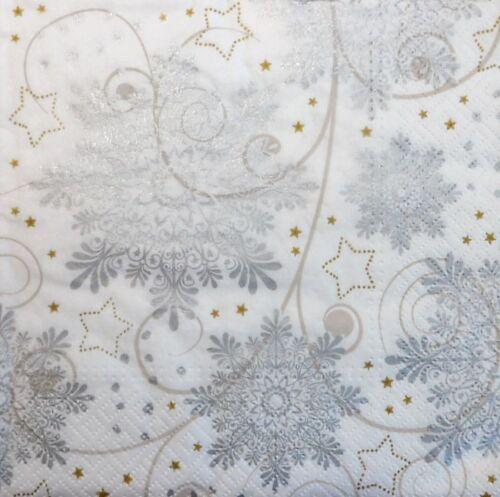 4 X Solo Papel Servilletas Navidad Estrellas de nieve para la elaboración de Decoupage 53