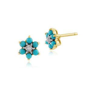 Gemondo-9ct-Yellow-Gold-0-21ct-Floral-Turquoise-amp-Diamond-Stud-Earrings