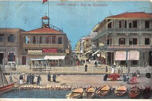 POSTCARD-EGYPT-PORT-SAID-Rue-de-Commerce