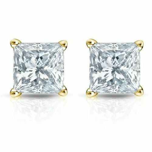 0.50CT Princess Cut Genuine F SI1 Diamond 14K Solid Yellow gold Stud Earrings