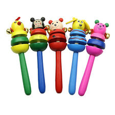 Kid Bell Toy Cartoon Animal Wooden Handbell Musical Education Instrument Rattles