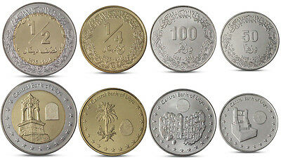 1//4 LIBYA CURRENCY SET 4 COINS 50 100 DIRHAMS 1//2 DINAR BIMETALL 2014 UNC