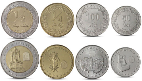 1//2 DINAR BIMETALL 2014 UNC 100 DIRHAMS 1//4 LIBYA CURRENCY SET 4 COINS 50