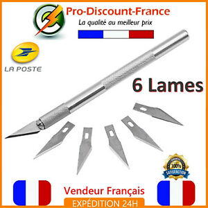 Scalpel-Cutter-Metal-Outils-6-Lames-Gravure-Couteau-Outillage-Transotype