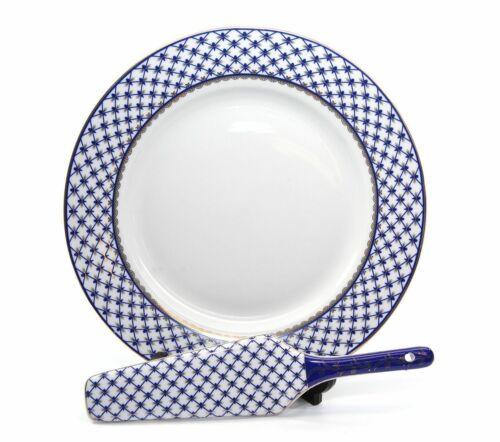 Vintage 2-pc Cake Set, Lomonosov Ornament, Russian Cobalt Blue Net Porcelain