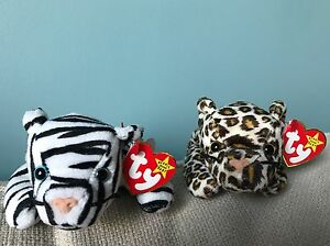 Jungle Cats! 2 TY Beanie Baby FRECKLES the Leopard and BLIZZARD the Snow Tiger!