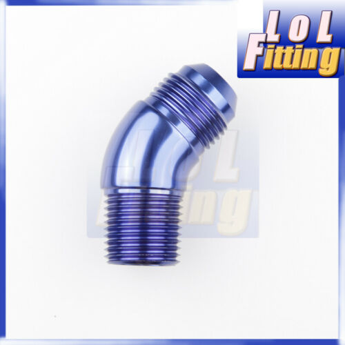 AN Male To NPT 45//90 Degree Aluminum Fitting Adapter Blue