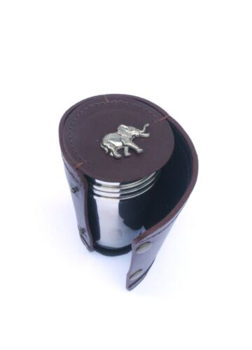 Elephant 4 Stacking Stirrup Shot Cups in Leather Case NEW 116